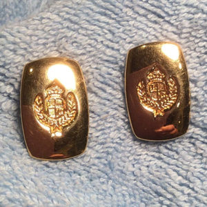 "1980's LIZ CLAIBORNE - ""Crest"" Gold Tone Earrings"